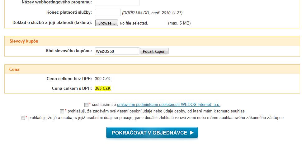 8196281f0 Krok – Zkopírovat kupon z našeho webu do políčka pro slevový kupon na webu  společnosti wedos.cz